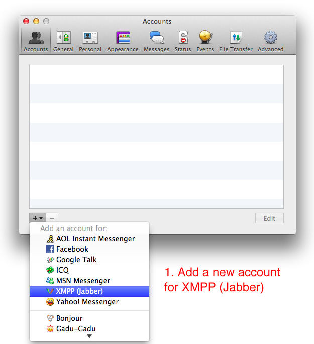 Jabber/XMPP instructions. Screenshot from Adium in Mac OS X.