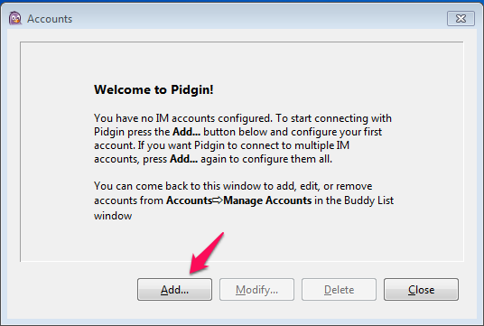 Pidgin: Add an account