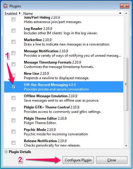 In the plugin list, check Off-the-Record Messaging and click Configure.